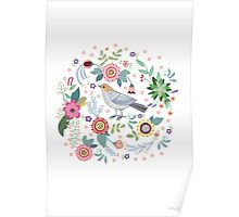 Beautiful bird in flowers Poster