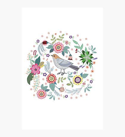 Beautiful bird in flowers Photographic Print