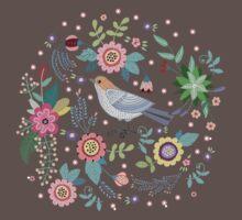 Beautiful bird in flowers One Piece - Short Sleeve