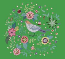 Beautiful bird in flowers Baby Tee