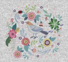Beautiful bird in flowers One Piece - Long Sleeve