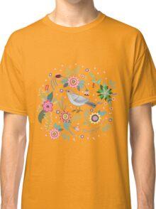 Beautiful bird in flowers Classic T-Shirt