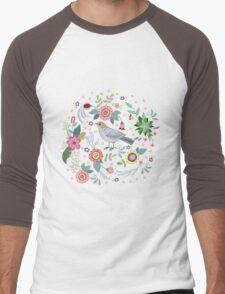 Beautiful bird in flowers Men's Baseball ¾ T-Shirt