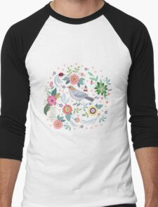 Beautiful bird in flowers Men's Baseball ¾ T-Shirt