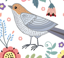 Beautiful bird in flowers Sticker