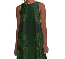 Green Fire Wings A-Line Dress