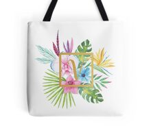 Tropical Floral With Gold Initial V Tote Bag