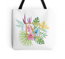 Tropical Floral With Gold Initial X Tote Bag