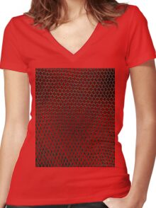 Net Art - 1 Layer - Red Hot Women's Fitted V-Neck T-Shirt