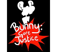 Bunny: Gore Justice - Splatter Design With Silhouette (White) Photographic Print
