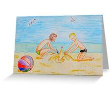 Children on the beach Greeting Card