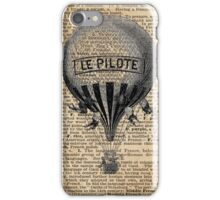 Old French Hot Air Balloon,Vintage Illustration,Dictionary Art,Rustic Design iPhone Case/Skin