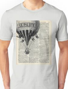 French Hot Air Balloon Vintage Engraving,Old Dictionary Page Background Art Unisex T-Shirt