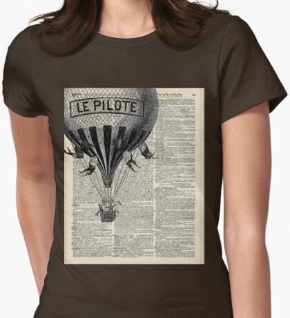 French Hot Air Balloon Vintage Engraving,Old Dictionary Page Background Art Womens Fitted T-Shirt