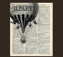 Old French Hot Air Balloon,Vintage Illustration,Dictionary Art,Rustic Design Womens Fitted T-Shirt
