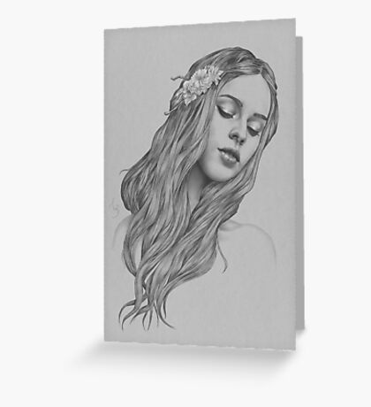 Patience digital illustration of a young girl Greeting Card