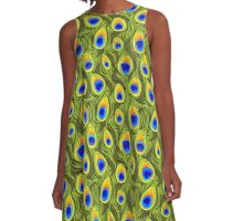 Pretty Peacock Feathers Pattern A-Line Dress