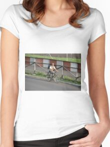 man riding bicycle Women's Fitted Scoop T-Shirt