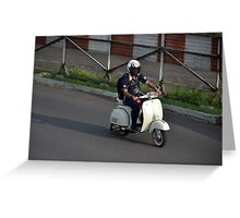 man riding scooter Greeting Card