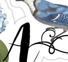 Bluebird Vintage Floral Initial A Sticker