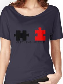 Puzzle Piece Matching Black and Red Sarcastic Women's Relaxed Fit T-Shirt