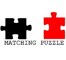 Puzzle Piece Matching Black and Red Sarcastic Photographic Print