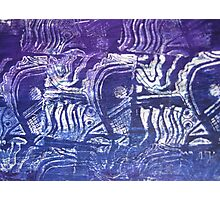 Blue Fish - Collaged Abstract Fish Lino Print  by Heather Holland Photographic Print