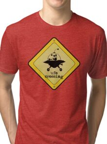 UFO crossing sign Tri-blend T-Shirt