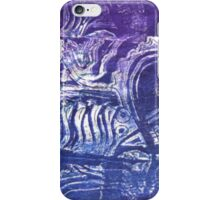 Blue Fish - Collaged Abstract Fish Lino Print  by Heather Holland iPhone Case/Skin