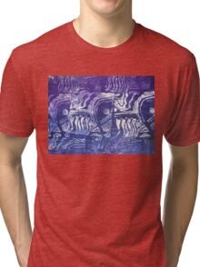 Blue Fish - Collaged Abstract Fish Lino Print   Tri-blend T-Shirt