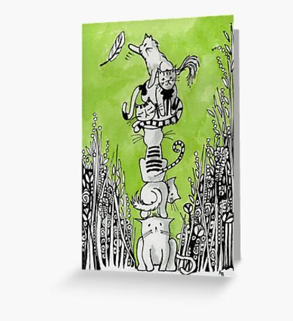 Stack Cats- Kerry Beazley Greeting Card