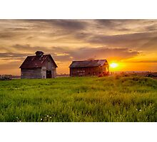 A May Sunrise at the Barn and Crib Photographic Print