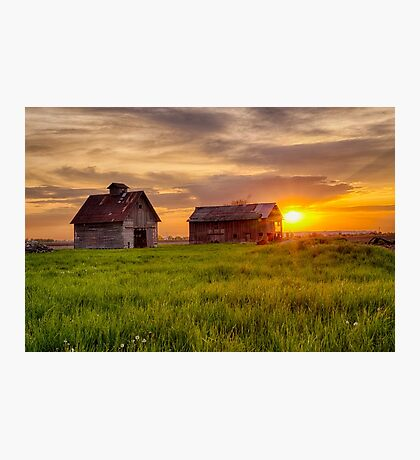 A May Sunrise at the Barn and Crib Photographic Print