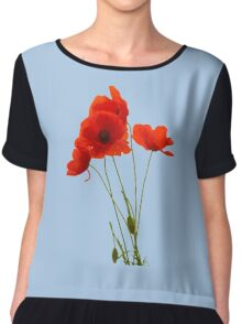 Delicate Red Poppies Vector Chiffon Top