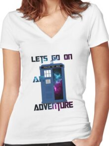 TARDIS-Let's go on an adventure #2 Women's Fitted V-Neck T-Shirt