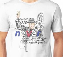 Winston Churchill Picture Quote - Never Give In Unisex T-Shirt