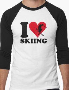 I love skiing Men's Baseball ¾ T-Shirt