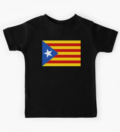 Estelada, Flag, Catalan, Spain, Spanish, Blue Estelada, Senyera Estelada, Starred flag, Lone Star flag, ON BLACK Kids Tee