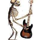 Ape Skeleton With Fender Bass Guitar by RichardSmith