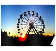 Ferris wheel at sunset Poster