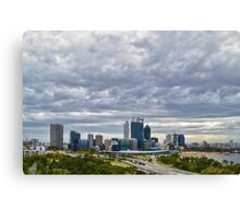 Perth City from Kings Park during Elizabeth Quay works Canvas Print