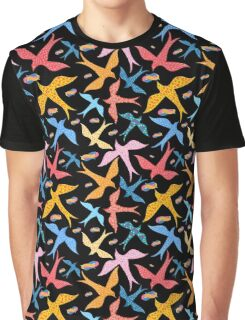 Colorful pattern of different birds Graphic T-Shirt