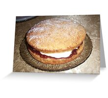 Victoria Sponge with Homemade Raspberry Jam and Fresh Cream Greeting Card