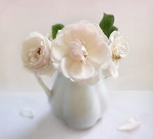 Three Vintage Roses in a White Pitcher by LouiseK