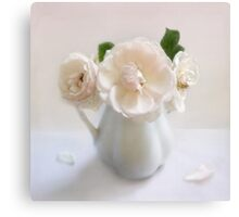Three Vintage Roses in a White Pitcher Canvas Print