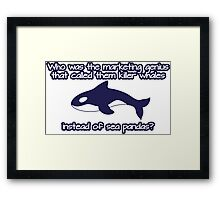 Who was the genius that called them killer whale instead of sea pandas? Framed Print