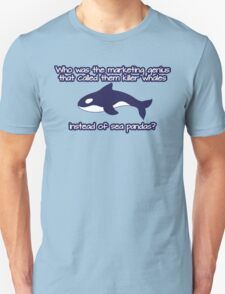 Who was the genius that called them killer whale instead of sea pandas? Unisex T-Shirt