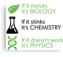 Biology - Chemistry - Physics Canvas Print