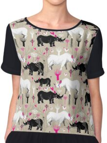 Graphic pattern of rhinoceroses lovers  Women's Chiffon Top