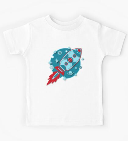 Retro rocket, planet, space, galaxy, science fiction, stars Kids Tee